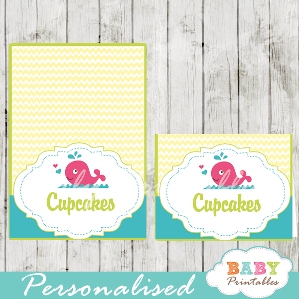 printable pink whale custom food label cards