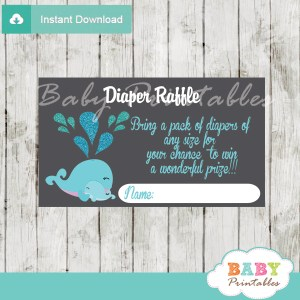 printable blue whale diaper raffle game cards baby shower