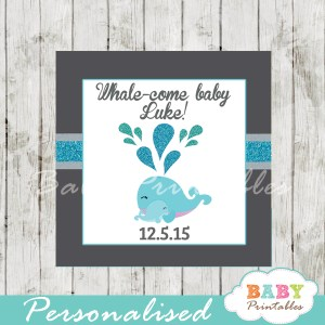 printable custom boy blue whale baby shower favor tags