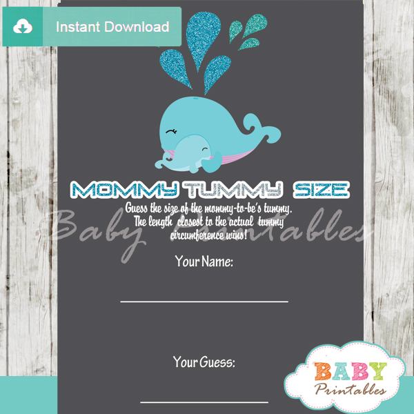 blue whale printable Baby Shower Game Guess the Mommy's Tummy Size