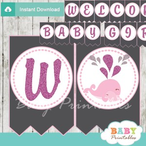 printable pink whale welcome boy baby shower banner decoration