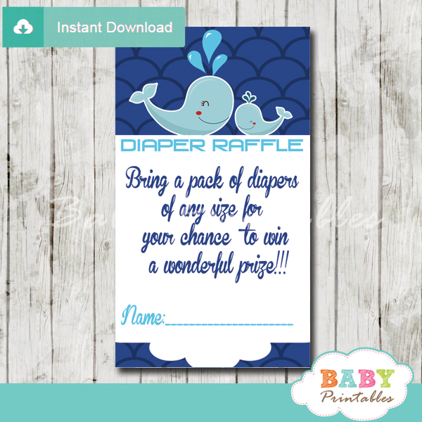 printable navy blue scallop pattern whale diaper raffle game cards baby shower