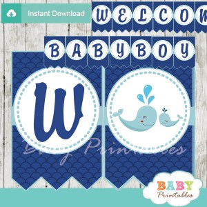 printable navy blue scallop pattern whale welcome boy baby shower banner decoration