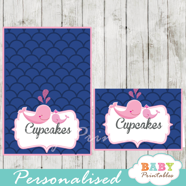 printable navy blue scallop pattern whale personalized food label cards