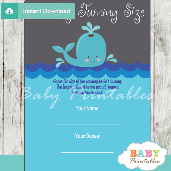 whale printable measure the belly baby shower game