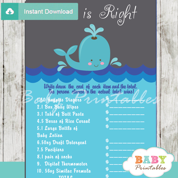 whale Price is Right Baby Shower Games printable pdf