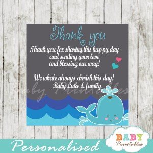 blue and grey printable custom whale baby shower favor tags