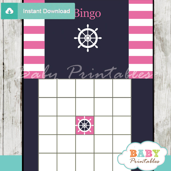 nautical stripes printable baby shower bingo games cards