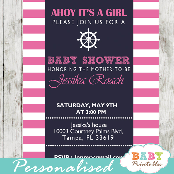 printable navy and pink nautical stripes baby shower invitations for girls