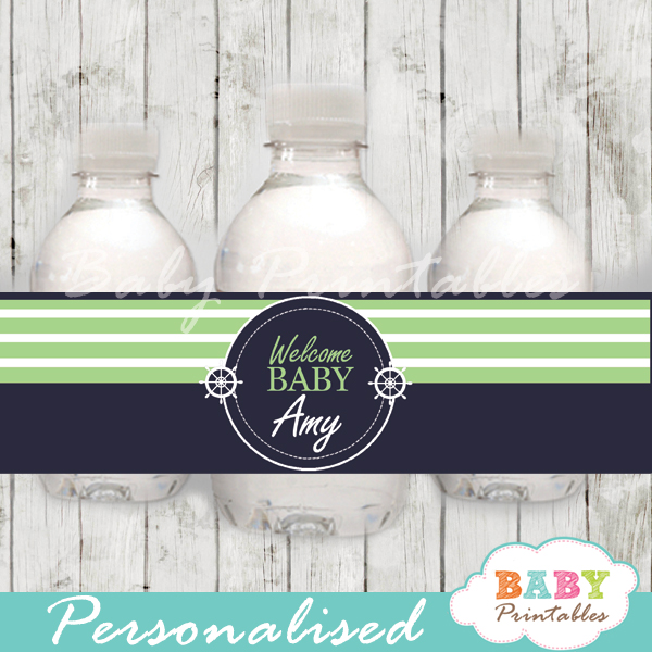 navy and green personalized nautical baby shower bottle wrappers diy