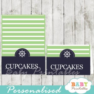 navy and lime green printable nautical personalized food label cards