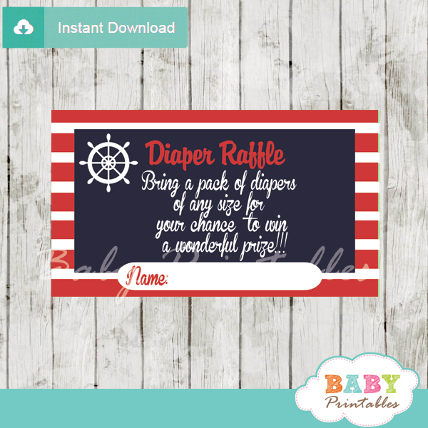 navy and red printable nautical diaper raffle game cards baby shower
