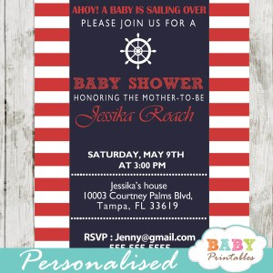 printable navy and red nautical helm baby shower invitations for boys