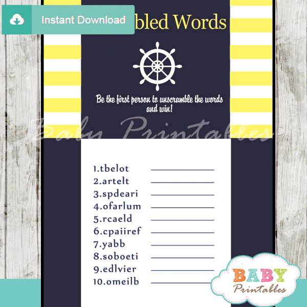 nautical stripes printable baby shower unscramble words game