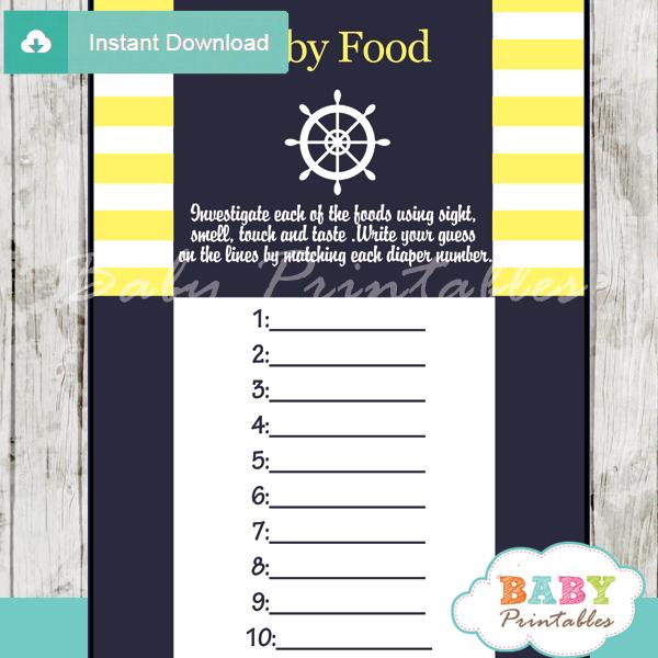 printable nautical helm baby shower games blind tasting baby food