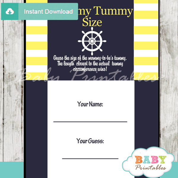 nautical helm printable measure the belly baby shower game