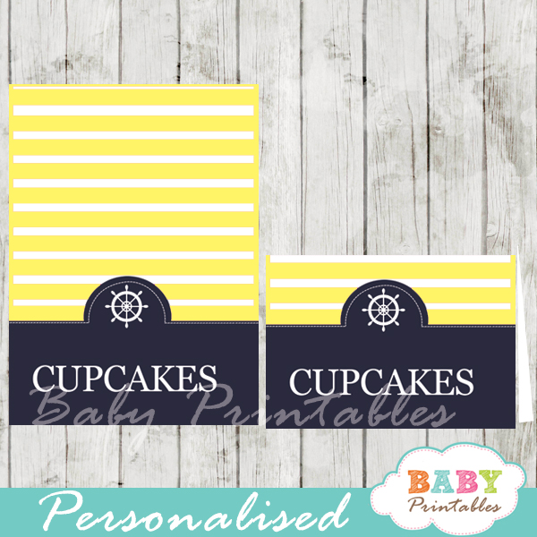 navy and yellow printable nautical personalized food label cards