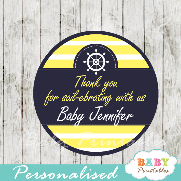 personalized navy and yellow nautical baby shower favor labels