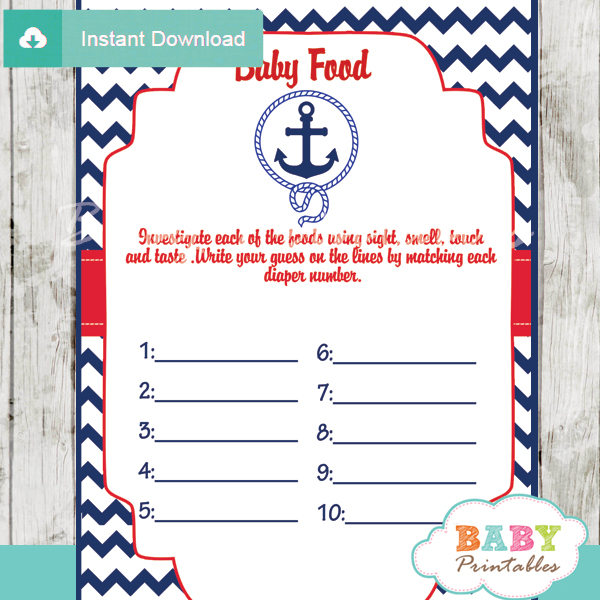 printable nautical anchor baby shower games blind tasting baby food