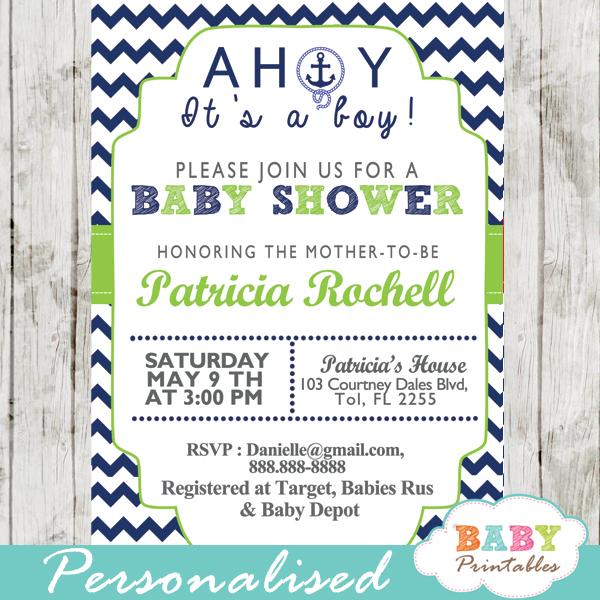 Navy Green Nautical Anchor Baby Shower Invitation D195