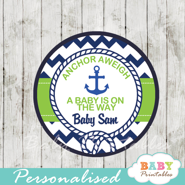 personalized navy and green nautical anchor baby shower favor labels