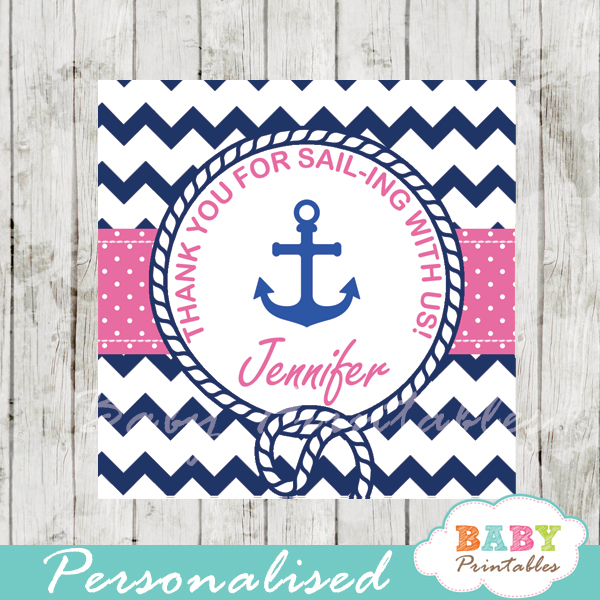 navy and pink printable custom nautical helm baby shower favor tags