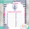 printable nautical anchor Name Race Baby Shower Game cards