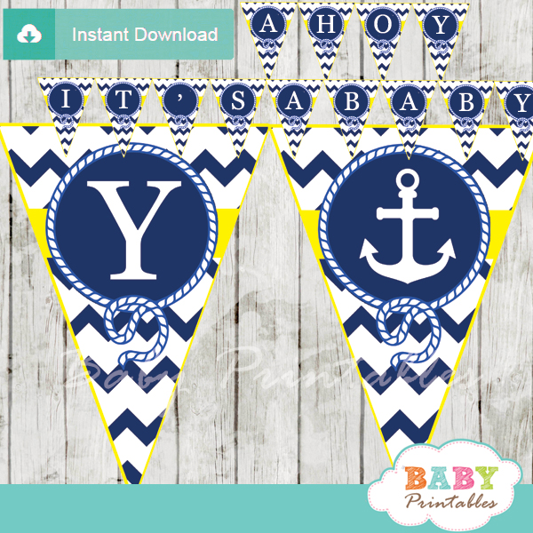 Blue And Yellow Printable Nautical Anchor Banner Decoration Personalized
