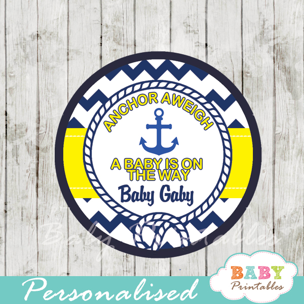 navy and yellow nautical anchor personalized cupcake toppers