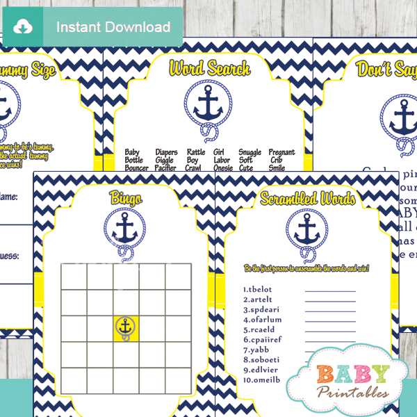 navy blue yellow nautical anchor printable baby shower games package 2