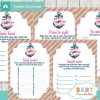 navy and pink printable nautical floral anchor baby shower games package