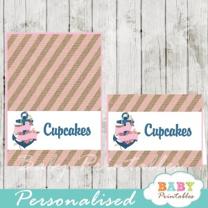 blue and pink printable floral anchor nautical personalized food label cards