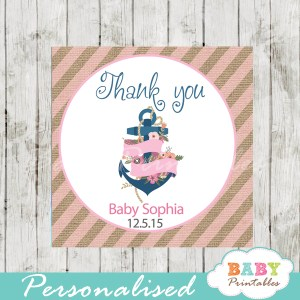 floral anchor navy and pink printable custom nautical baby shower favor tags