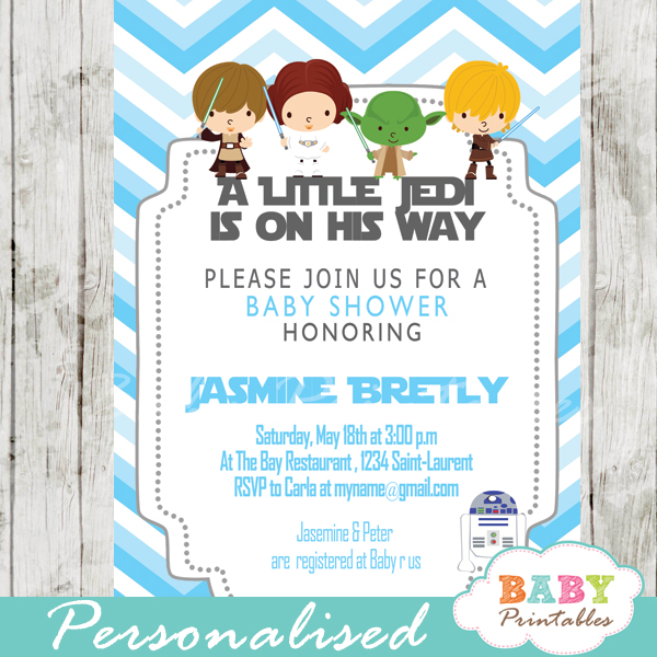 Blue Chevron Star Wars Baby Shower Invitation U2013 D205