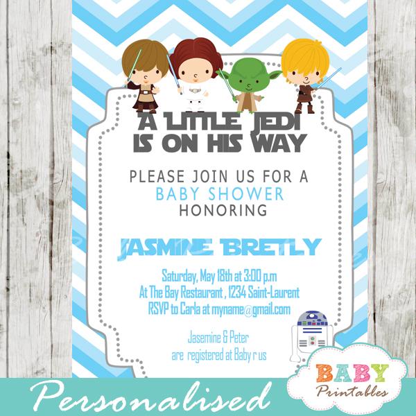blue chevron printable star wars baby shower boy invitation personalized