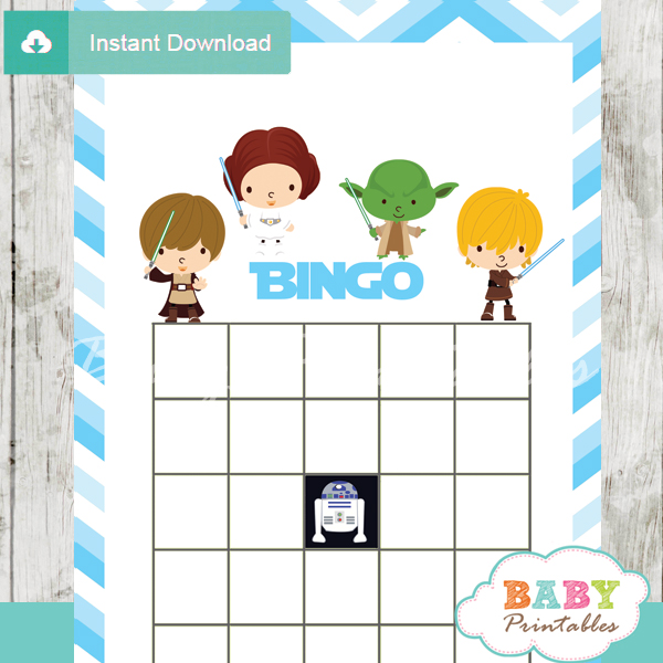 star wars printable baby shower bingo games cards