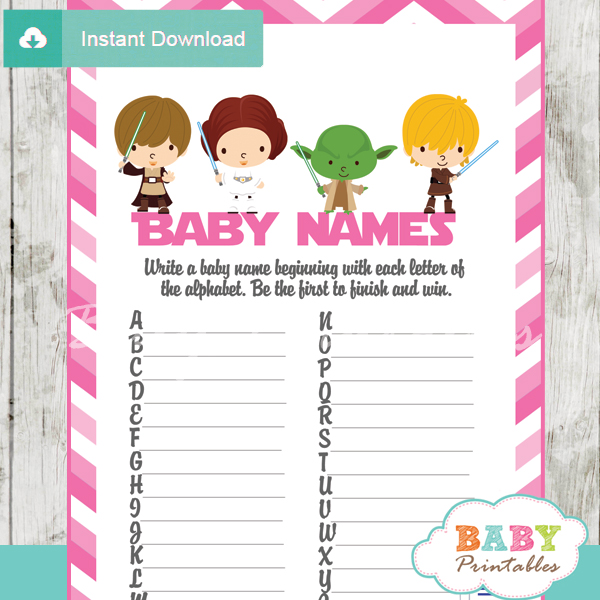 Amazing Printable Star Wars Name Race Baby Shower Game Cards