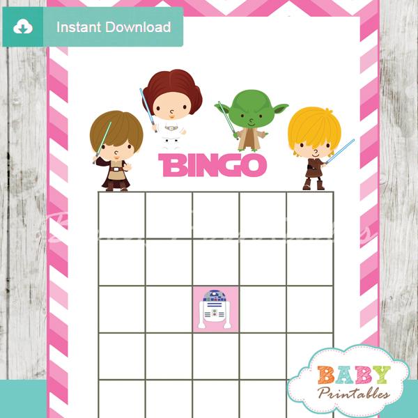 star wars printable baby shower bingo games cards