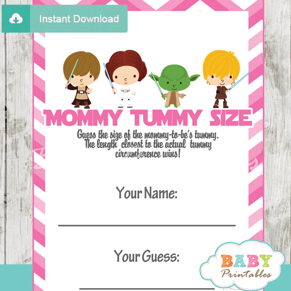 star wars printable measure the belly baby shower game