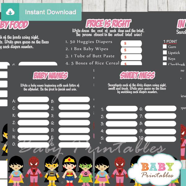 printable superhero girls baby shower games package