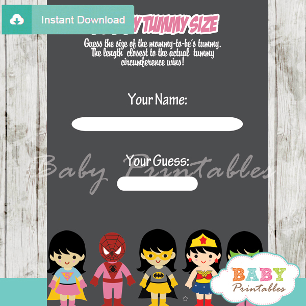 girl superhero printable measure the belly baby shower game