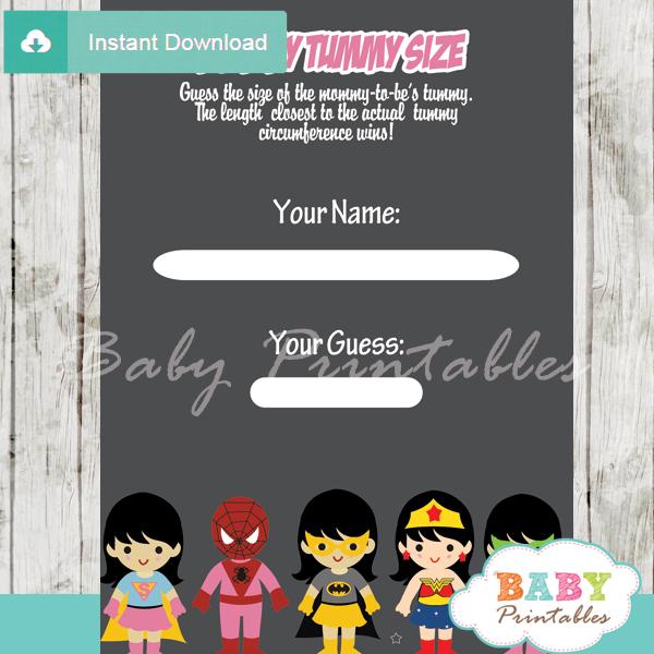 girl superhero printable measure the belly baby shower game