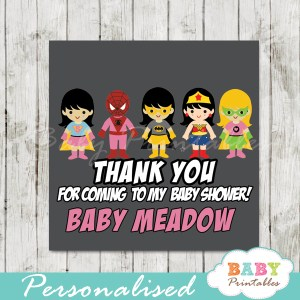 printable custom superhero baby girls favor gift tags