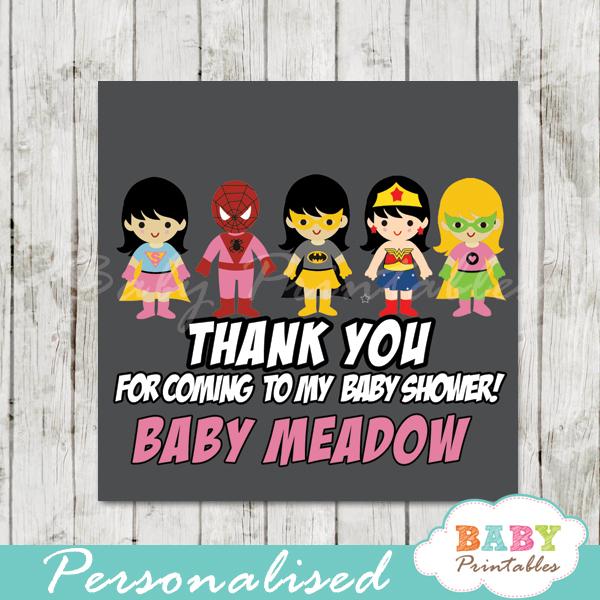 printable custom superhero baby girls favor gift tags