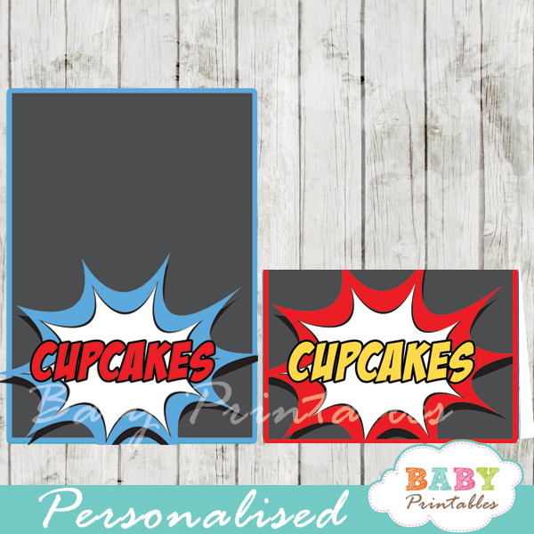 printable superhero comic personalized food label cards