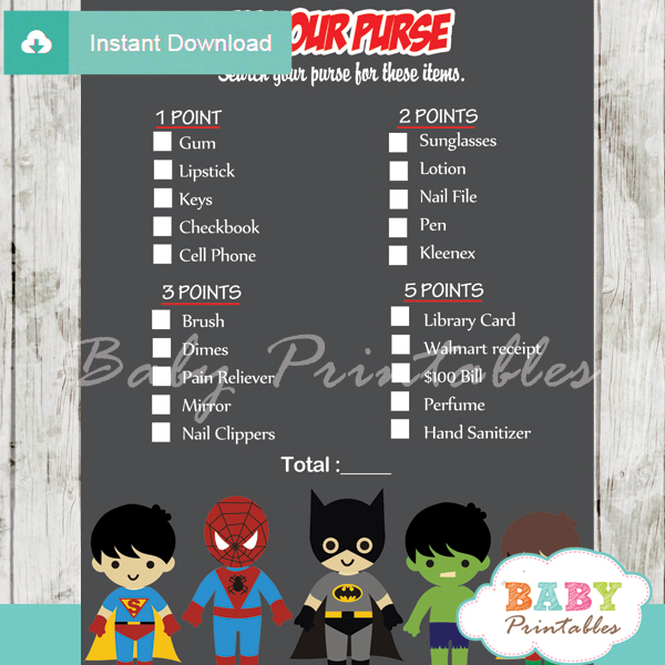 boy superhero what's in your purse baby shower game printable