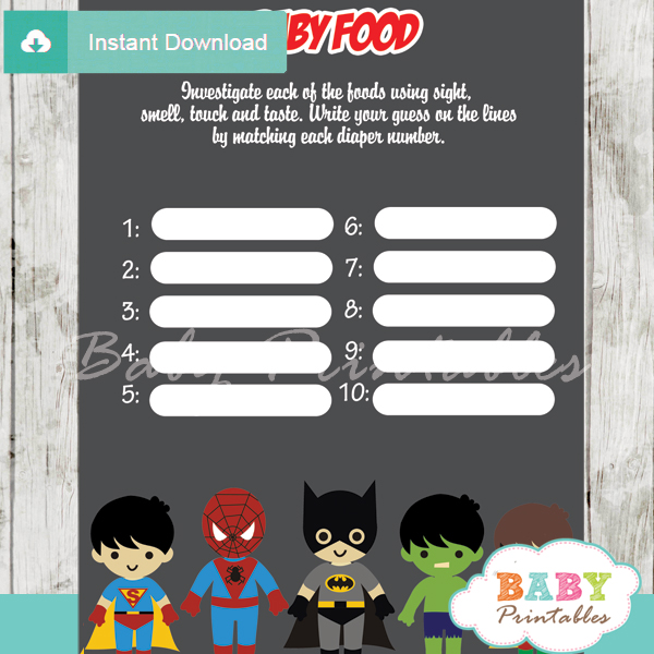 printable boy superhero baby shower games blind tasting baby food