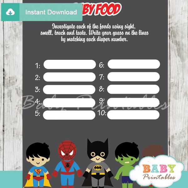 printable boy superhero baby shower games blind tasting baby food