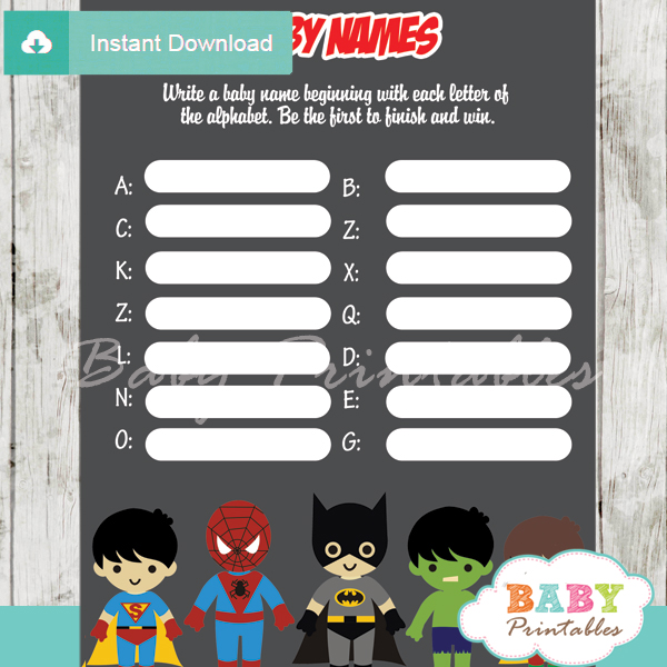 boy printable superhero Name Race Baby Shower Game cards