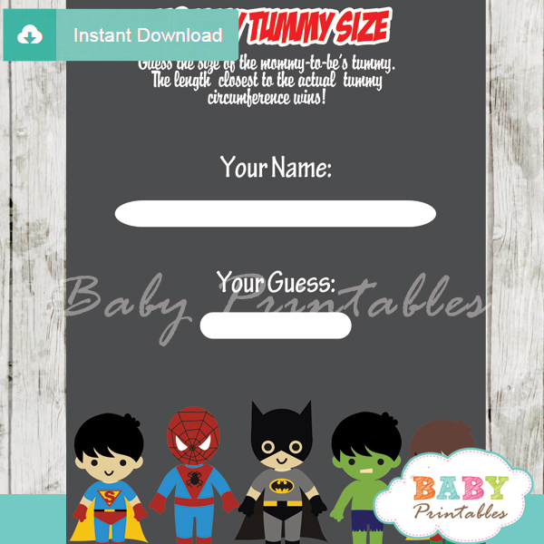 boy superhero printable measure the belly baby shower game